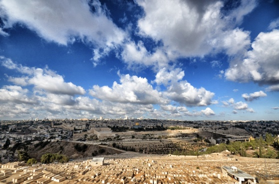 A panoramic view of the Mount of Olives.